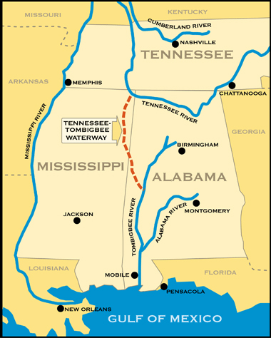 Vicinity Map for the Tennessee-Tombigbee Waterway