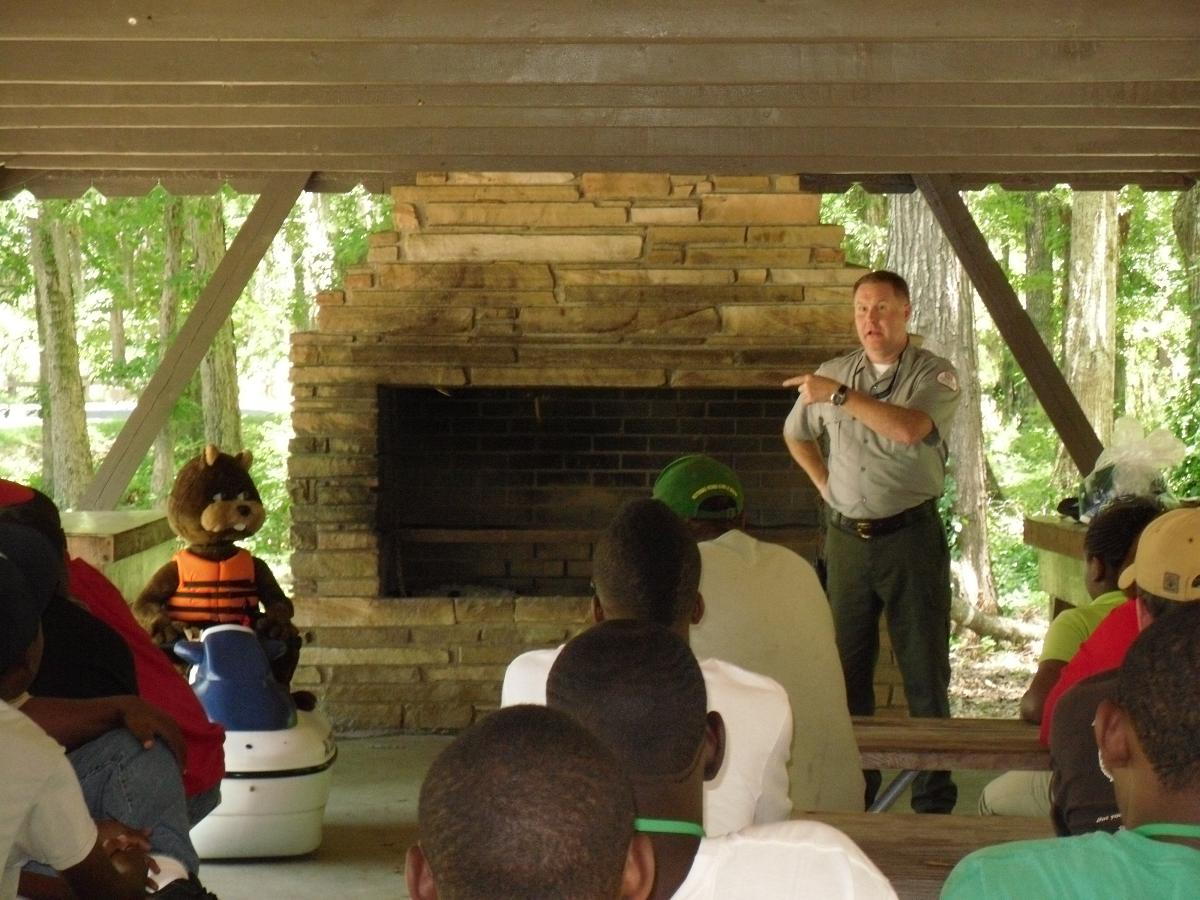 Ranger presenting a water safety program